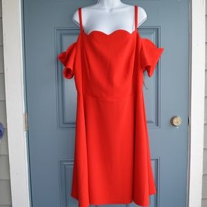 Deep Red Cold Shoulder Dress by Rebecca B. Sz. 22W